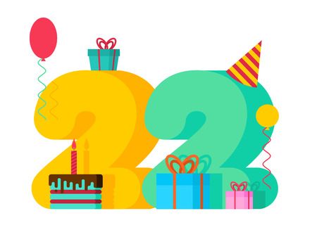 22 year Birthday sign. 22th Template greeting card anniversary celebration. twenty two number and festive piece of cake with candle. Balloon and Gift box.