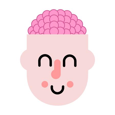 Brain in head. Thinking process. Vector illustration Ilustracja