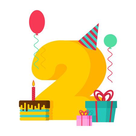 2 ans de cartes de voeux d & # 39 ; anniversaire . deux modèle de conception de mariage. premier gâteau et partie festive de gâteau avec le ruban de cadeau et de la couronne de cadeaux . Banque d'images - 96428507
