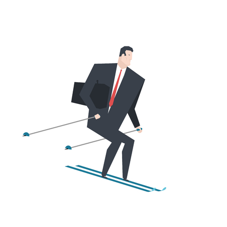Businessman on skis vector illustration. Illustration