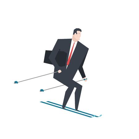 Businessman on skis vector illustration. Vettoriali