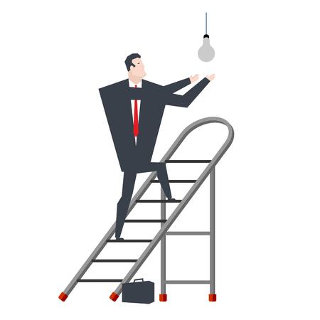 Businessman on stepladder changing light bulb.