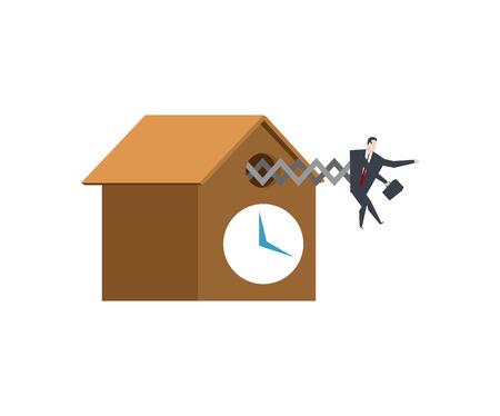 Businessman cuckoo in clock. Watch for boss. Office life vector illustration.