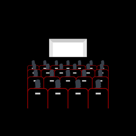 Lecture hall. In cinema people sit on armchairs. Presentation.