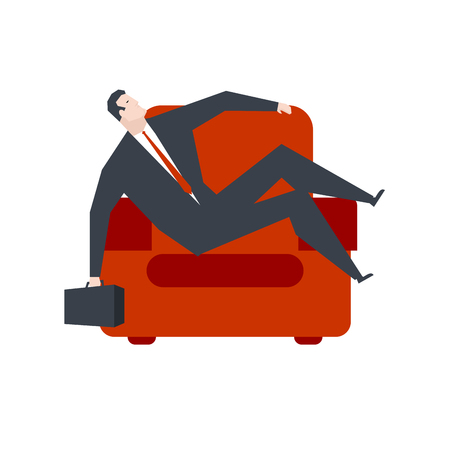 Businessman is resting in red armchair. Boss relaxes. Vector illustration.