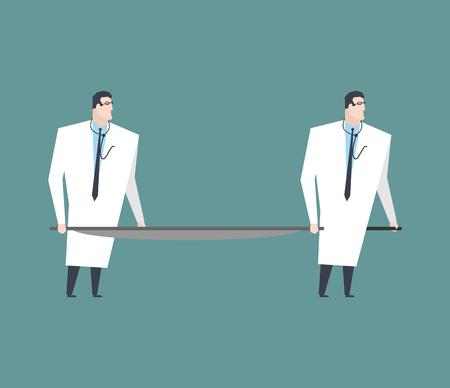 Doctors carry empty stretchers. Medicine vector illustration.