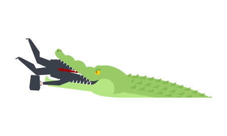 Businessman eaten by a crocodile illustration 向量圖像
