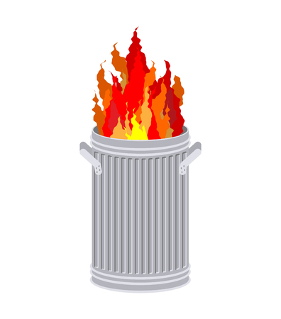 Fire In garbage can. Trash can burns.