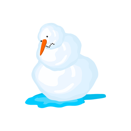 Snowman melts. Spring comes. Snow and water.