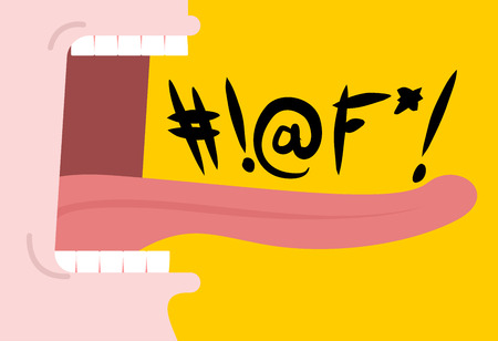 Mouth with foul language vector icon