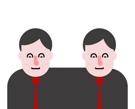 Business partners siamese twins vector illustration.  イラスト・ベクター素材