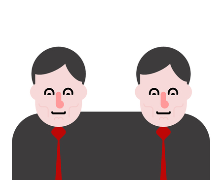 Business partners siamese twins vector illustration. Illustration