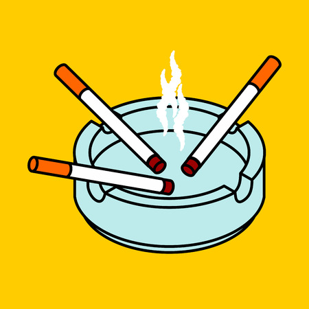 Ashtray with cigarettes isolated icon.