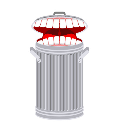 Garbage can with teeth.