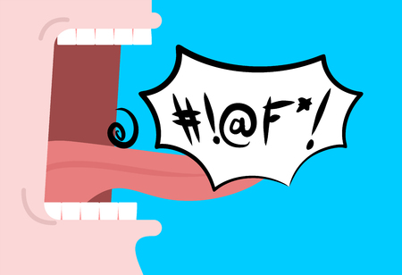 Mouth saying foul words with speech bubble.