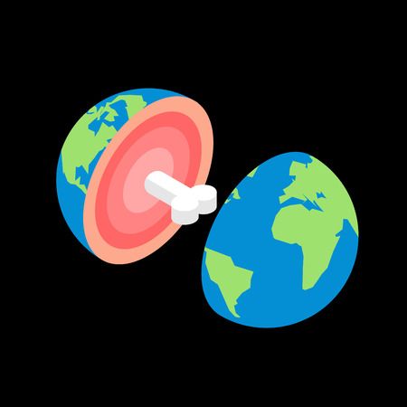 Planet earth in cut with bone. structure of planet.