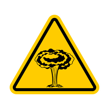 Attention war. Nuclear explosion is prohibited. Yellow triangle road sign Caution!