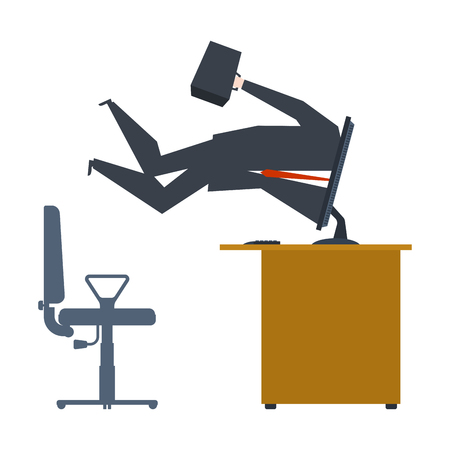 Businessman inside computer. Computer absorbed man. Vector illustration  Illustration