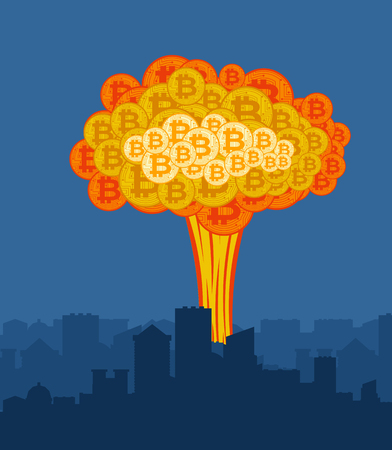 Bitcoin explosion in city. Big cloud of crypto currency.