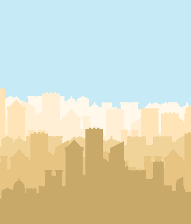 City silhouette. Megapolis silhouette. Skyscrapers and buildings. Vector illustration Ilustrace