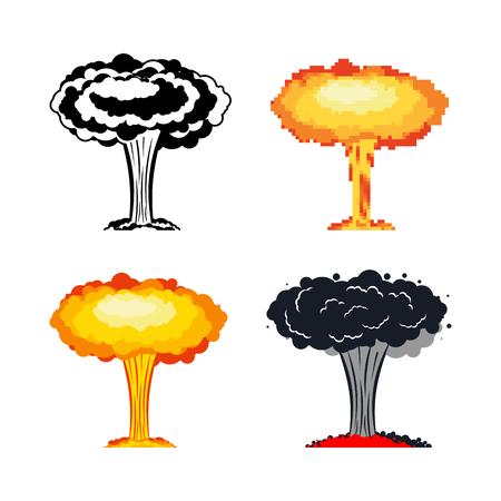 Nuclear explosion set. War. large red explosive chemical mushroom. Illustration