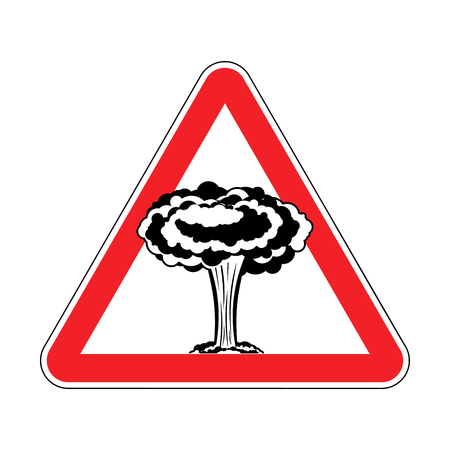 Attention Nuclear explosion. War is prohibited. Red triangle road sign Caution! Illustration