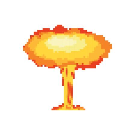 Nuclear explosion pixel art. large red explosive chemical mushroom 8bit Illustration
