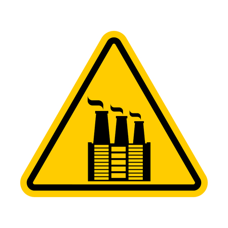 Attention Factory. Environmental pollution prohibited. Yellow triangle road sign Caution!