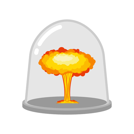Nuclear explosion in glass bell. Laboratory studies of war. Chemical weapon