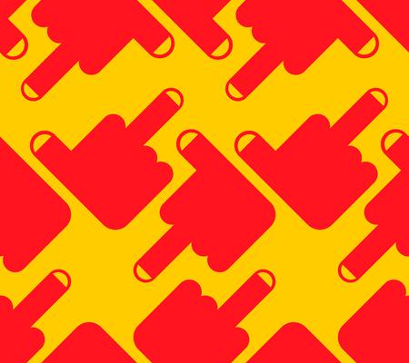 Fuck seamless pattern. Middle finger up. Background vector Illustration