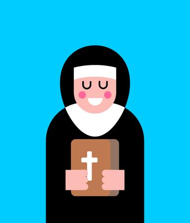 Nun and bible icon Illustration
