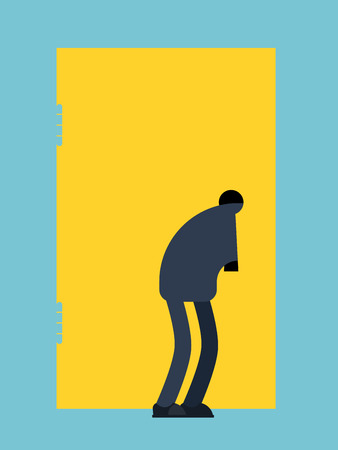 Man looks into keyhole. Guy Spies on keyhole. Vector illustration  Ilustração