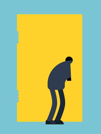 Man looks into keyhole. Guy Spies on keyhole. Vector illustration Imagens - 100338889