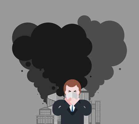 Industrial city. Man in mask from dust. Guy in respirator. Contaminated air. Smoke plants. Factory emissions. Environmental pollution vector illustration