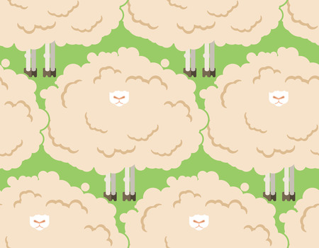 Hairy sheep flock seamless pattern. Shaggy lamb herd background. vector illustration