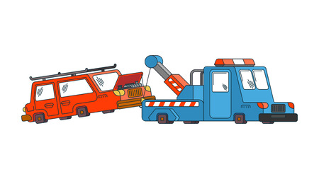 Tow truck and car. Wrecker Evacuates auto. Help on road. Vector illustration 写真素材 - 100338895