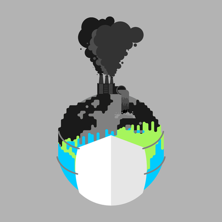 Earth in respirator. Planet in mask from dust. Contaminated air. Environmental pollution Smoke plants. Factory emissions vector illustration.