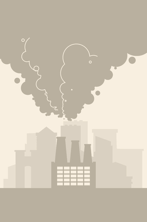 Contaminated air. Industrial City in fog. Environmental pollution Smoke plants. Factory emissions vector illustration