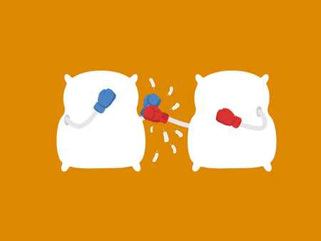 Pillow fight. Strong cushions in boxing gloves. Duel bed linen. Vector illustration  Illustration