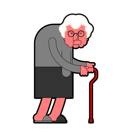 Evil Grandmother Old hag. Bad Grandma. Old lady Angry. Vector illustration   イラスト・ベクター素材