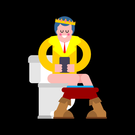 Prince In toilet. Young King and Phone In WC. Template for design in royal style. Vector illustration Illustration