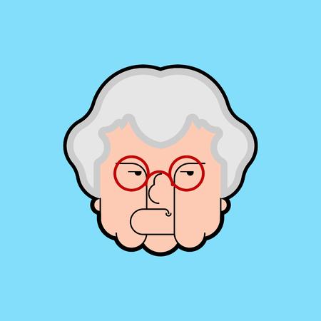 Evil Grandmother Old hag. Bad Grandma. Old lady Angry. Vector illustration  Illustration