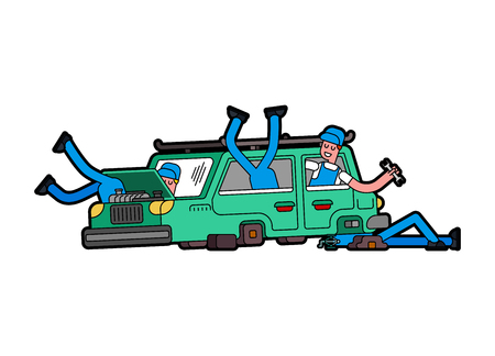Car repair. Mechanic at work. Engine started to boil. Open hood.   Illustration