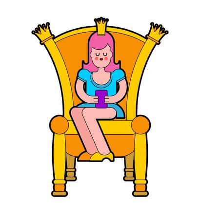 Princess on throne. Royal chair. Vector illustration