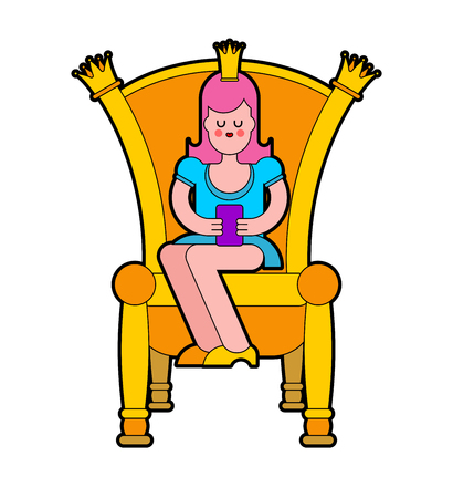 Princess on throne. Royal chair. Vector illustration
