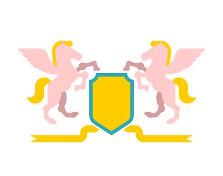 Pegasus and Shield heraldic symbol. Sign Animal for coat of arms. Royal Horse Vector illustration