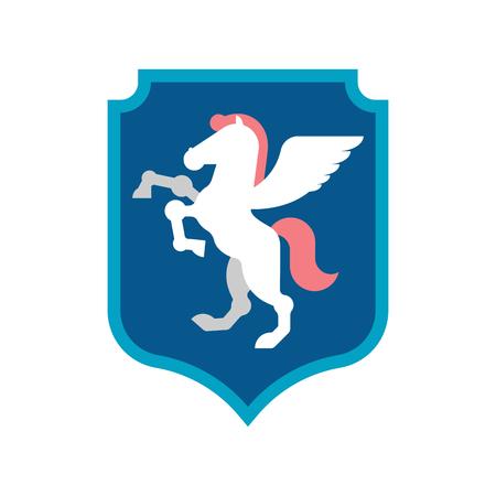 Pegasus Shield heraldic symbol. Sign Animal for coat of arms. Royal Horse Vector illustration
