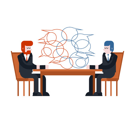 Business negotiations. Two businessmen are sitting table. Enter into contract. Vector illustration