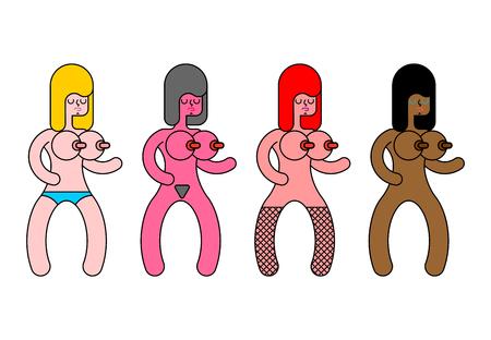 Zestaw lalek erotycznych. Zabawki erotyczne dla dorosłych. Ilustracja wektorowa