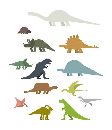 Dinosaur Set. Ancient animal. Diplodocus and Stegosaurus, Pterosaur. Ankylosaurus and triceratops. Styracosaurus and Iguanodon, Apatosaurus. Tyrannosaur and Panoplosaurus. Pterodactyl and Parasaurolophus. Ceratosaurus and Raptor. Dino prehistoric monster. Beast is Jurassic period. Vector illustration.
